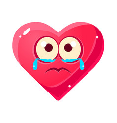 crying upset emoji pink heart emotional facial vector image