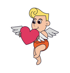 cupid with heart flying vector image