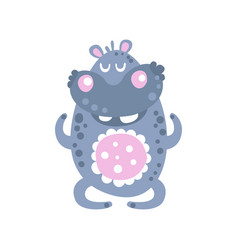 cute cartoon hippo character meditating vector image