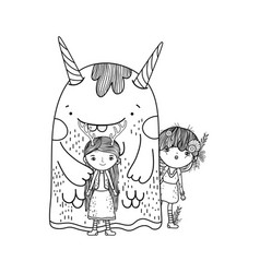 Cute little fairies couple with monster vector