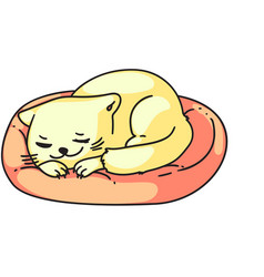 Cute sleeping day dreaming cat isolated on white vector
