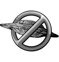 Design ufo with symbol ban vector