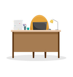 desk with a lamp a pile of papers and a laptop vector image