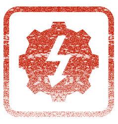 Electric gear framed textured icon vector