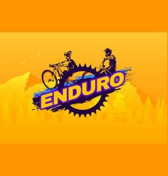 enduro mountain biking logo template typography vector image