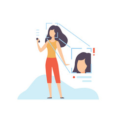 facial recognition technology young woman using vector image