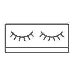 Fake eyelashes thin line icon makeup and beauty vector