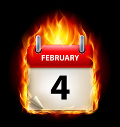 Fourth february in calendar burning icon on black vector