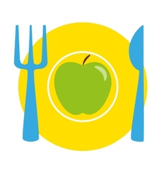 Green apple on the yellow plate with blue fork and vector