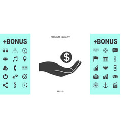 hand holding money - dollar symbol vector image
