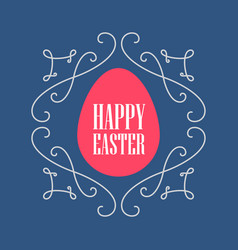 happy easter - greeting card with floral line art vector image