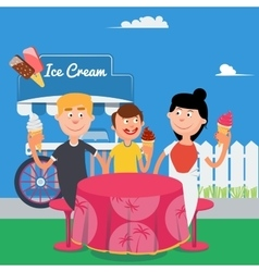 Happy Family Eating Ice Cream Family Weekend vector image