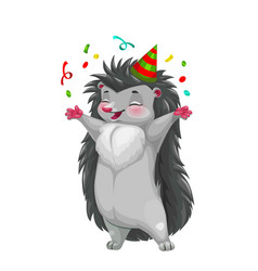 Hedgehog with party hat and confetti celebrating vector