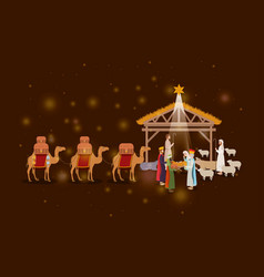 Holy family in stable with wise kings manger vector