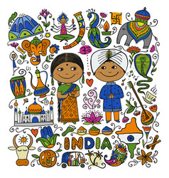 indian lifestyle sketch for your design vector image