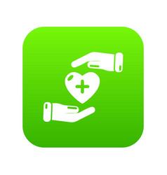 insurance life icon green vector image