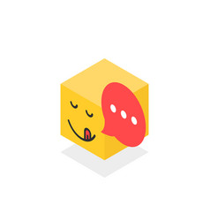 Isometric gourmet icon like emoji face isolated on vector