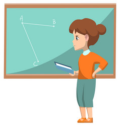 Kid at school geometry lesson solving tasks vector
