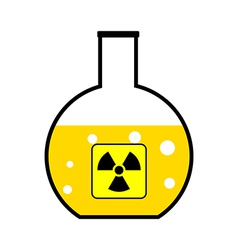Laboratory flask with a radioactive reagent vector image