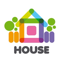 logo multicolored rural house vector image