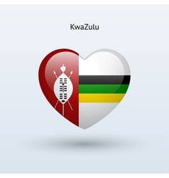 Love KwaZulu symbol Heart flag icon vector image