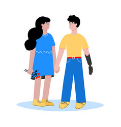Love relationships woman and disabled man flat vector
