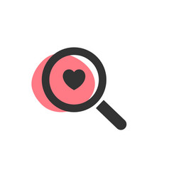 Magnifying glass looking for love isolated web vector