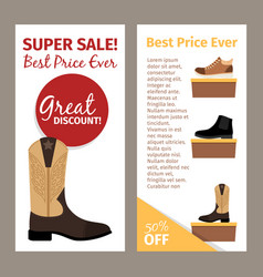 Men leather beige autumn boots flyers vector