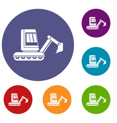 Mini excavator icons set vector