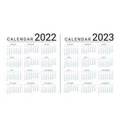 Mockup simple calendar layout for 2022 and 2023 vector