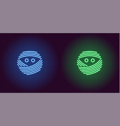 Neon mummy face in blue and green color vector
