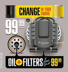 Oil and Filters Change Grey vector