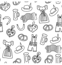 oktoberfest hand drawn cartoon doodle seamless vector image