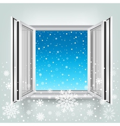 Open window and falling snow vector
