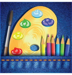 pencils and paint brush vector image