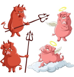 Pig angels and demons vector