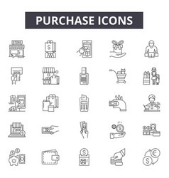 purchase line icons signs set outline vector image