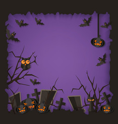 purple halloween poster with black spooky vector image