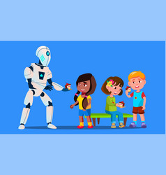 robot treats children to cakes isolated vector image