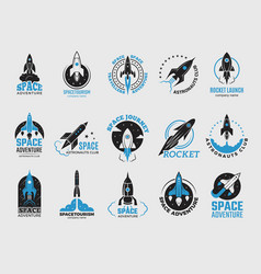 rocket logo space satellite retro shuttle moon vector image