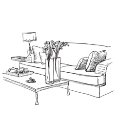 Room interior sketch Hand drawn furniture vector image