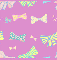 Seamless pattern with skerchy bows vector