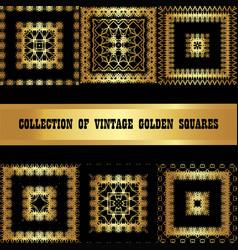 set a collection of golden square frames vintage vector image