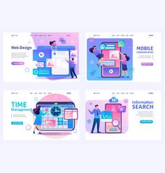 Set flat 2d concepts web design time management vector