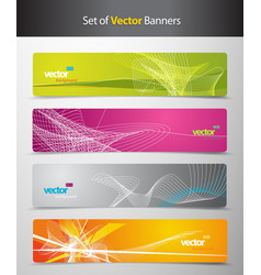 Set of abstract colorful headers with lines and vector image
