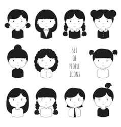 Set of monochrome female faces icons Funny vector image