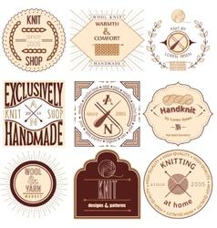 set vintage knitting labels badges and design vector image