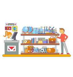 shop purchase goods shopping cart preparation vector image