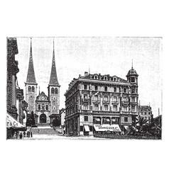 Silk store in lucerne switzerland vintage vector