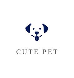 Simple cute dog puppy logo design vector